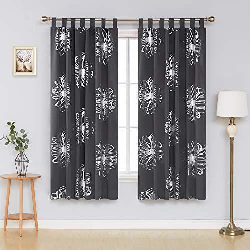 Deconovo tende oscuranti termiche isolanti stampate fiori con passanti per finestre interni 140x175 cm 2 pannelli grigio scuro