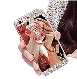 Huawei P20 Lite Spiegel Handyhülle,Huawei P20 Lite Silikon Hülle,Swaeu Case Glitzer Glänzend Strass Kirstall Diamant Spiegel HandyHülle TPU Silikon Schutzhülle für Huawei P20 Lite,Bär Ring ständer