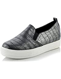 SHOWHOW Damen Bequem Mittler Absatz Runde Zehen Pailletten Durchgängiges Plateau Sneakers Schwarz 34 EU 8ai04Ef
