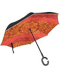 COOSUN Antecedentes ornamental en estilo indio de la capa doble del paraguas invertido inversa para el