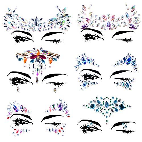 6 Stück Gesicht Edelsteine Festival Strass Juwelen Face Tattoo Sticke Glitzersteine Aufkleber,Schmucksteine Selbstklebend Gesicht für Glitzer Effekt, Parties (Art-01)