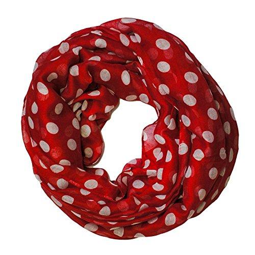 Loopschal Tuch Loop Schal Rundschal Halstuch XXL punkte, Farbe:rot