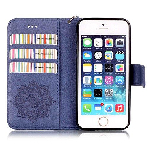 Tasche iPhone 5S, Anfire Apple SE Hülle in Rot Magnetverschluss Kartenfächer Klapptasche Stil Schutzhülle Handyhülle Apple iPhone 5 / 5S / SE Premium Geldbeutel Kunstleder Flip Taschenhülle Case Cover blau