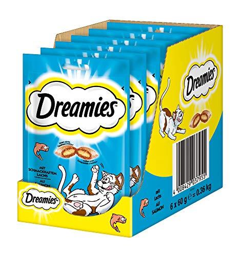 Dreamies Katzensnacks Katzenleckerli Klassiker mit Lachs, 6 Packungen (6 x 60g)