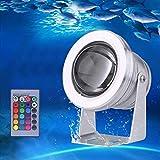 Projecteur Submersible à LED, Éclairage Sous-marin IP68 Étanche RGB, 10W Projecteur LED pour Éclairage Extérieur de Jardin avec Piscine à Fontaine 【Classe Énergétique A+】