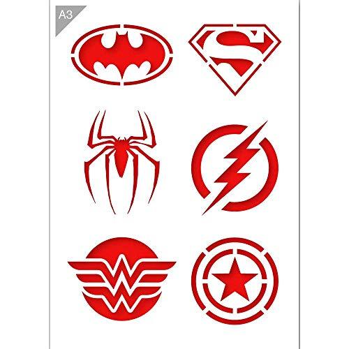 Superheld Emblem Logos Schablone - Plastik - A3 42 x 29,7cm - Batman Logo Breite 12cm - wiederverwendbare kinderfreundliche Schablone für Malerei, Handwerk, Wände und Möbel