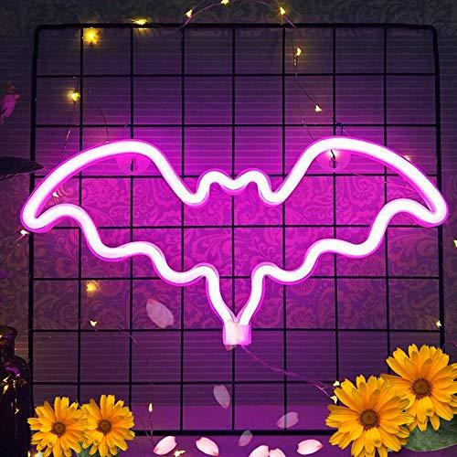 XIYUNTE Fledermaus Nacht Licht Rosa Neonlichter Zeichen, Batterie oder USB betrieben LED Lampe Neon Lichter WandDekoration für Schlafzimmer,Wohnzimmer,Weihnachten,Party als Kinder Geschenk
