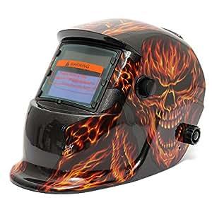 LEXPON Automatik Schweißhelm Solar Welding Helmet Schweißmaske Schweißschirm Schweißschild(Schädel Feuer Flamme)