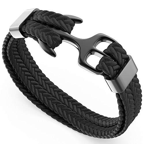Online-Shop 9eaee 7306b bellamio: bellamio hochwertiges Armband mit Anker für Männer - perfektes  Männerarmband mit Geschenkbox - Schwarzes Leder und schwarzes Edelstahl -  ...