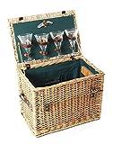 Greenfield Collection Amersham Cesta de Picnic en Mimbre, para 4 Personas, Color marrón, Metal, 46.00x31.00x34.00 cm