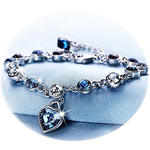 Youfeng gioielli cuore blu cristallo bracciali per donne e ragazze sapphire birthstone charm scintillante braccialetti dell' amicizia e placcato platino, colore: blue, cod. sl-00118