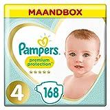 Pampers Premium Protection Maat 4 (9-14kg), x168 Luiers, Zachtste Comfort En Beste Huidbescherming Van Pampers, Maandbox