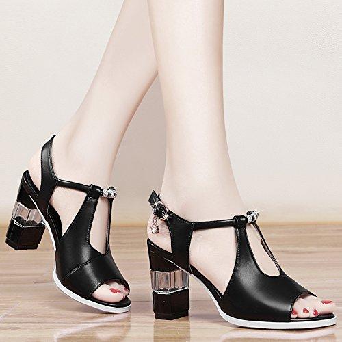 GTVERNH-black 7.5cm estate i sandali signore dei tacchi alti la bocca del pesce con le scarpe scarpe con spessi corrispondono tutti,trentotto Forty-one