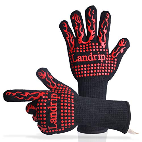 Landrip BBQ Gloves, 932 ºF Extreme Heat Resistant Grill Gloves - EN407 Certified Cooking Oven Mitts - Professional Indoor & Outdoor Kitchen Tool - 1 Pair
