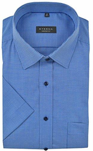 Eterna Herren Hemd Baumwoll Hemd Baumwollhemd Business Herrenhemd Kurzarm Comfort Fit Blau Blau