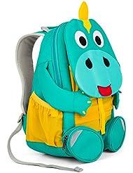 Affenzahn Kinderrucksack mit Brustgurt für 3-5 jährige Jungen und Mädchen im Kindergarten oder Kita der große Freund Didi Dino - türkis, gelb