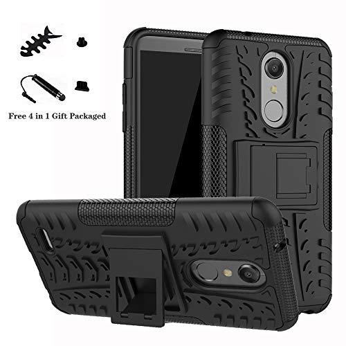 LiuShan LG K10 2018 Hülle, Dual Layer Hybrid Handyhülle Drop Resistance Handys Schutz Hülle mit Ständer für LG K10 2018 Smartphone(mit 4in1 Geschenk Verpackt),Schwarz