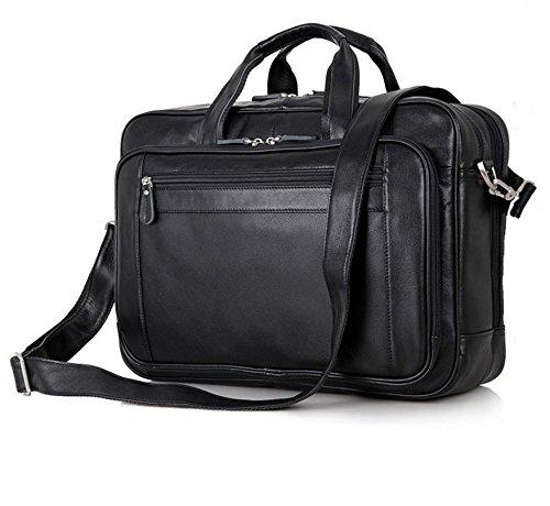 UBaymax Aktentasche Ledertasche Laptoptasche Notebook Tasche Handtaschen Umhängetasche Schultertasche Reisetasche Leder Herren 17 Zoll 3 Fächer ,Groß:43cm x 16.5cm x 30.5cm,Braun (17inch Schwarz) (Aktentasche Handtasche)