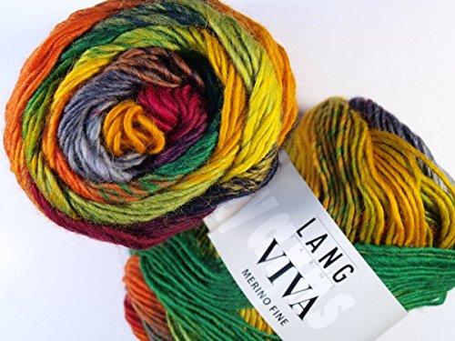 LANG YARNS Viva - Farbe: Bunt Grün/Fuchsia/Gelb (0053) - 50 g / ca. 110 m Wolle -