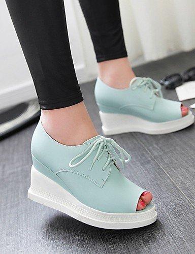 WSS 2016 Chaussures Femme-Habillé / Décontracté-Bleu / Rose / Blanc / Beige-Talon Compensé-Compensées / Bout Ouvert-Talons-Similicuir beige-us8 / eu39 / uk6 / cn39