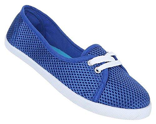 Damen Schuhe Halbschuhe Leichte Slipper Flache Ballarinas Sommerschuhe Blau ZwzjA