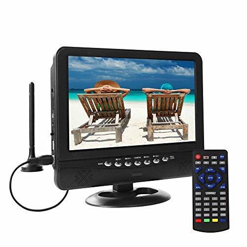 Tragbarer LCD-Fernseher, Digital DVB-T2-Tuner, mit Akku Aufladen, Anzug für Europa-Land, TV-Programm im Innen- oder Außenbereich mit Autoladung