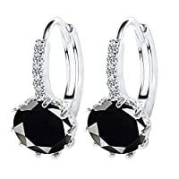 MJARTORIA Womens Hoop Hook Earrings Black Round Rhinestone Stud Earrings