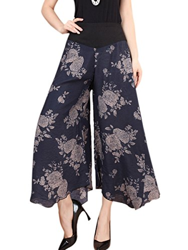 Aivtalk Damen Weite Bein Hose Frauen Elegante Chiffon lange Hosen Frauen Blumen Druck Weite Bein Pluderhose Casual Wide Leg Pants Farbe Größe Wahlbar Blau