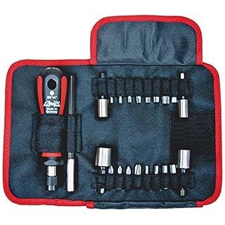 ATHLET-Qualitätswerkzeuge Universal-Bit-Rolltasche, bestückt mit diversen Schraubwerkzeugen, 22-teilig in praktischer Nylon Gewebetasche und Gürtelaufhänger, 1489 Gr. 2