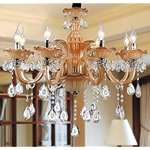 GOWE-Lampadario a candelabro, 6 lampadine con luce di cristallo Lampadario-Lampada moderna da appendere Lobby Lighting-Cristal