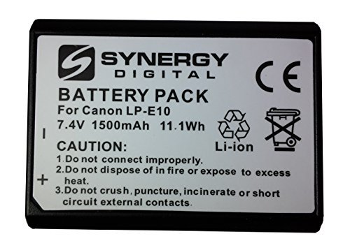 Canon EOS 1300D Digital Camera Battery Lithium Ion (1500 mAh 7.4v) - Replacement For Canon LP-E10 Battery