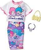 Original Barbie Mode, Kleider Set - FKR70 Hello Kitty Regenbogen Outfit, Rock, Shirt, Halskette und Handtasche