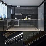0,61x5,5M PVC Selbstklebend Möbel Klebefolie küchenschrank Aufkleber schrankfolie schlafzimmer wand tapeten roller küche folieren Schwarz mit Kostenloses Zubehör Schaber