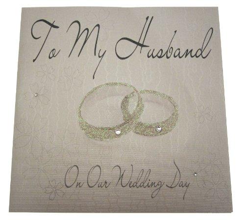 WHITE COTTON CARDS XLWB24A Glückwunschkarte zum Hochzeitstag, für den Ehemann, Motiv Ringe, handgefertigt, groß, englischsprachige Aufschrift