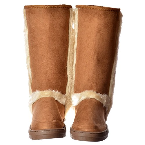 Ella Women's Ladies Synthetic Fur Trimmed Fur Lined Flat Winter Snug Boot - Chestnut Brown, Black, Dark Brown Kastanie
