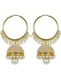 Meenaz Jewellery Traditional Gold Plated Pearl Jhumka Jhumki Earrings For Women girls party wear Necklace Jewellery Set for women- Jhumki-J148