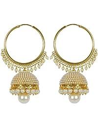 Meenaz Jewellery Traditional Gold Plated Pearl Jhumka Jhumki Earrings For Women & Girls- Jhumki-J148