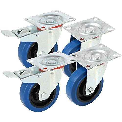 Yaheetech 4X Lenkrolle Transportrollen Bockrollen Gummirollen Laufrollen 100mm, 180 kg Belastbar mit Bremse Blau