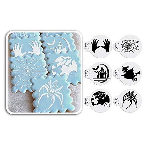 oween Totenkopf, Spider, Ghost House, Hexe Cookie Schablone Set Kuchen dekorieren Supplies Cupcake Top Dekoration Form st-913 beige/halbtransparent ()