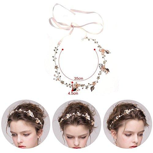 Haarschmuck von Oshide Blättern und Blumen Weiß Perlengirlande mit Strass Braut Braut Haarschmuck - 3