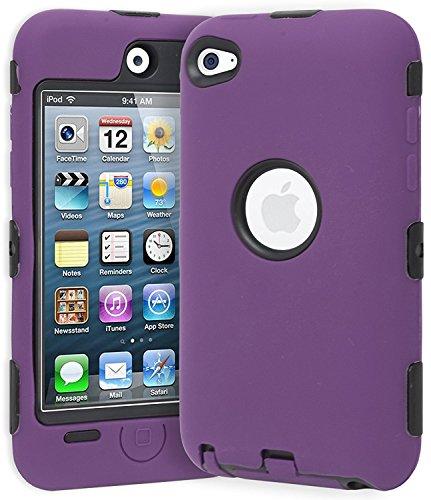 Unbekannt Hybrid Fall Kompatibel mit Apple iPod Touch 4. Generation, Violett/Schwarz Ipod Touch 4 Hybrid
