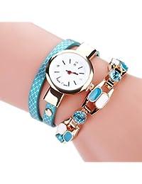 Kinlene Damas moda pulsera reloj de mesa estudiante círculo de diamante braided diamond Bracelet (Sky Blue)