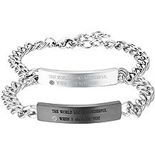 Cupimatch - 2 pulseras de cadena de eslabones de acero inoxidable, con símbolo de infinito, a juego para pareja de enamorados