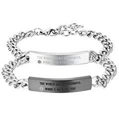 Idea Regalo - Cupimatch coppia lovers braccialetto bracciale acciaio inox mosaico zircone