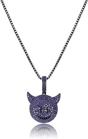 MoCa Jewelry - Collana unisex con ciondolo a forma di diavoletto con brillantini, con catena in acciaio inossidabile da 61 cm, stile hip hop