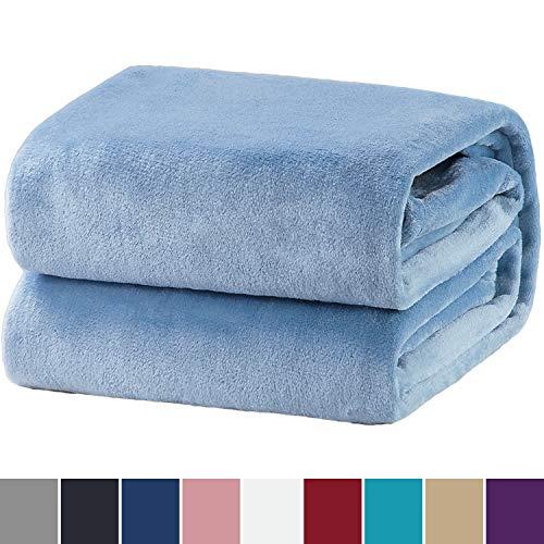 Bedsure coperta in pile morbido per letto e divano azzurro 150x200cm - plaid coperta calda letto matrimoniale e singolo di flanell microfibra