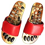 HariHome Foot Massager Slippers Plantur Arch Pain Massage Adult Shoes Agate Stone Acupressure Wooden Shoe