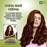 Lot de 10 sachets de poudre de henné Nisha - Pour coloration capillaire naturelle - Teinte: brun naturel - 10g