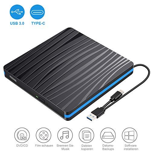 Tragabar Externe DVD-RW DVD/CD Laufwerk Brenner USB 3.0 und Typ-C-Schnittstelle,kompatibel mit Win10 /8/7/XP,Laptop,Mac/MacBook Air/Pro/iMac/PC