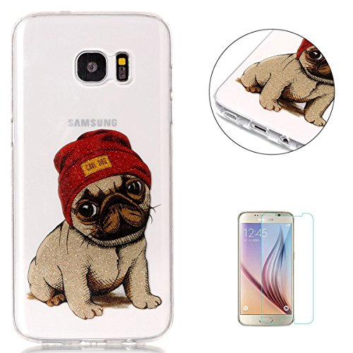 KaseHom Compatible for Samsung Galaxy (S7 Edge) Hülle Case Crystal le Caoutchouc Couvrir Bling Shining Flash Poudre Conception Doux TPU Silicone Gel Peau Transparent Shell-Cooler Hund Penguin Gel